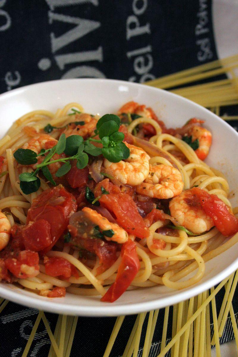 Prawntomatowatercressspaghetti