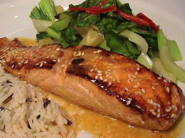 thepassionatecook: Sesame salmon in orange & miso sauce with pineapple ...